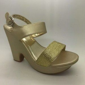 Ladies Shoes NoShoes Shaped Gold Shimmer Platforms